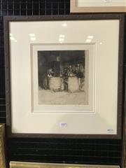 Sale 8990 - Lot 2042 - Ferdinand Schmutzer (1870-1928) Monastery Kitchen drypoint etching 46.5 x 44cm (frame) signed