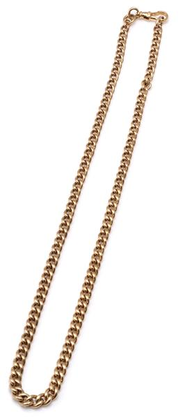 Sale 9115 - Lot 370 - A 9CT GOLD ALBERT CHAIN; slightly graduated 4.8- 6.5mm wide curb link chain to swivel clasp, length 52cm, wt. 48.95g.