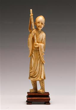 Sale 9122 - Lot 16 - A Chinese Ivory Figure of an Elder on Stand (H 20cm)