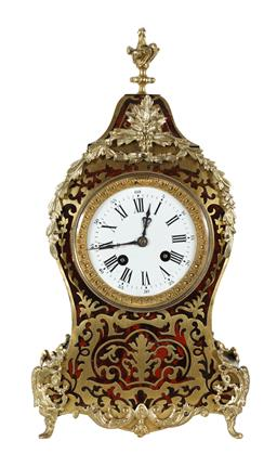 Sale 9245J - Lot 52 - A fine quality French 19th century serpentine shaped boulle salon clock, with ormolu mounts and enamel dial, H 37cm x W 18cm.