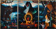 Sale 8443 - Lot 552 - James Davis (1940 - ) - Twilight in Gods Country (Bohemian Series) (triptych) 188.5 x 230cm (overall)