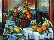 Sale 8655A - Lot 5003 - Margaret Olley (1923 - 2011) - Basket of Oranges, Lemons and Jug 92 x 120cm