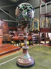 Sale 8666 - Lot 1065 - Early 20th Century Chinese Pierced Bronze & Champleve Table Lamp, the ball shaped shade with floral arabesques, on a spreading foot