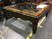 Sale 8795 - Lot 1024 - Oriental Glass Top Coffee Table (small chip to glass)