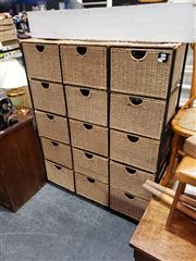 Sale 8988 - Lot 1071 - Wicker 15 Drawer Chest (H:137 W:110 D:33cm)