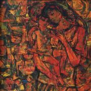 Sale 9001 - Lot 559 - Roger San Miguel (1940 - ) - Mother & Child 83 x 83 cm (frame: 97 x 97 x 4 cm)