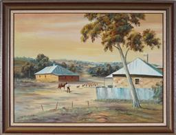 Sale 9099A - Lot 5055 - Alan Lewis (1895 - 1987) - Droving the Sheep through the Town 44.5 x 59.5 cm (frame: 55 x 70 x 2 cm)