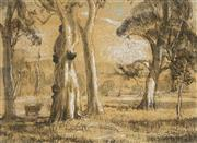 Sale 9067 - Lot 555 - Hans Heysen (1877-1968) - Cattle Grazing Among Trees 21 x 28.5 cm (frame: 49 x 55 x 3 cm)