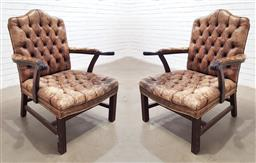 Sale 9142 - Lot 1085 - Pair of Georgian Style Leather Armchairs, in buttoned distressed brown leather, with camel style back & square channelled legs (h104...