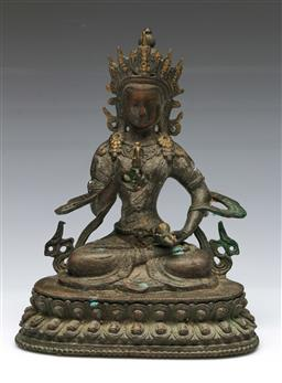 Sale 9144 - Lot 4 - Bronze seated Tara figure holding a Ruyi (H:22cm)