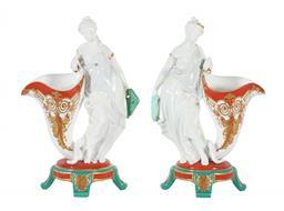 Sale 9245J - Lot 40 - A fine pair of English 19th century porcelain vases, depicting the maiden beside the cornucopia, H 27cm x W 18cm.