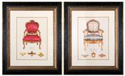 Sale 8342A - Lot 96 - A pair of antique chair illustration prints, total 65 x 55cm