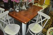 Sale 8431 - Lot 1047 - Large Square Dining Table and Five Cross Back Chairs
