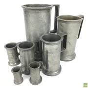 Sale 8649R - Lot 66 - Pewter Graduated Set of Cups with Capacity (18cm)