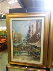 Sale 8640 - Lot 2032 - G De Simone - Market Scene, Italy 90 x 70 cm (frame size)