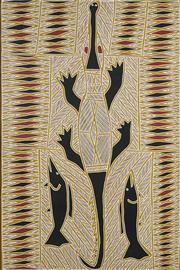 Sale 8718 - Lot 556 - Peter Datjin Burrwanga (1953 - ) - Hunting Crocodile and Barramundi, 2002 natural pigments on paper