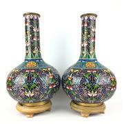 Sale 8795K - Lot 294 - A pair of large cloisonne vases with long neck