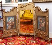 Sale 8804A - Lot 119 - An Edwardian carved and gilt triptych fire screen with central mirror and Botticelli prints, H 100cm W 137cm