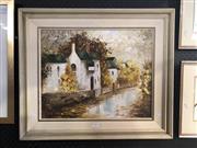 Sale 8811 - Lot 2064 - Clare Goodwin Paddington Street Scene acrylic on canvas board, 60 x 66cm, signed lower left