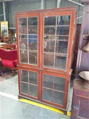 Sale 8868 - Lot 1162 - Cedar Bookcase, in two sections with four astragal doors
