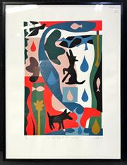 Sale 8953 - Lot 2037 - Lo Cole A Wet Day in the Country, 1989 screenprint ed. 27/50, 80 x 60.5cm, signed and dated