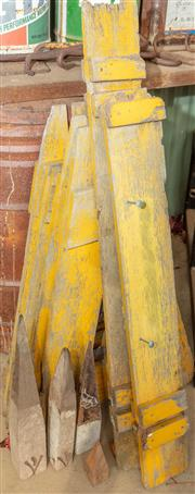Sale 8984W - Lot 566 - A group of timber barriers in yellow and black together with assorted surveyors pegs