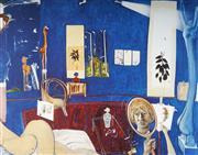 Sale 9034A - Lot 5075 - Brett Whiteley (1939 - 1992) - Self-Portrait in Studio 50 x 65 cm (frame: 84 x 99 x 3 cm)