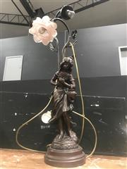 Sale 9059 - Lot 1001 - Figural Table Lamp, single shade missing (h:70cm)