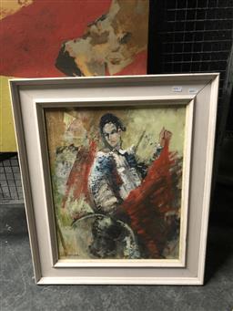 Sale 9147 - Lot 2030 - Artist Unknown Matador, oil on board, frame: 64 x 53 cm, signed lower left -