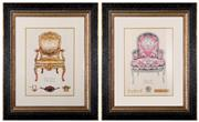 Sale 8342A - Lot 97 - A pair of antique chair illustration prints, total 65 x 55cm