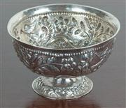 Sale 8435A - Lot 32 - A continental (Dutch) marked silver footed bowl with acanthus and parrot embossed decoration, D 13cm