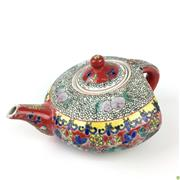 Sale 8562R - Lot 50 - Chinese Famille Rose Ceramic Flat Backed Teapot (W: 17cm)
