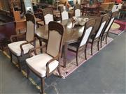 Sale 8676 - Lot 1178 - Timber Dining Setting incl. Extension Table with Two Leaves & Eight Cream Fabric Back & Seat Chairs incl. Two Carvers