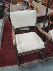 Sale 8676 - Lot 1328 - Oak Armchair with Upholstered Back & Seat