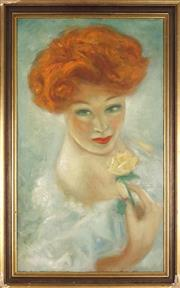 Sale 8888 - Lot 2032 - Artist Unknown - Portrait of a Woman 63.5 x 36 cm
