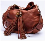 Sale 8921 - Lot 15 - A GUCCI BROWN LEATHER BABOUSKA INDY TOP HANDLE TASSEL BAG;  hobo shape with Gucci Guccissima trim and highlights, bamboo and studded...