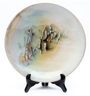 Sale 8926H - Lot 45 - A Daly glazed studio pottery dish, signed to base, diameter 30cm