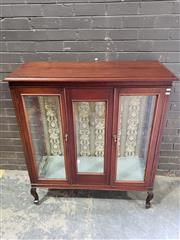 Sale 8976 - Lot 1011 - 1920s Inlaid Mahogany Display Cabinet, with glass panel door, glass shelves & cabriole legs (H:125 W:112 D:44cm)