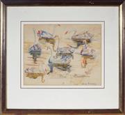Sale 9004 - Lot 2011 - Tempe Manning (1893 - 1960) - Swans 24.5 x 31.5 cm (frame: 47 x 51 x 5 cm)
