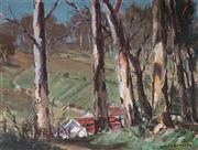 Sale 9067 - Lot 556 - James R Jackson (1882 - 1975) - Farmstead Through Trees 29 x 39 cm (55 x 65 x 4 cm)