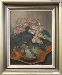 Sale 9101 - Lot 2002 - Artist Unknown Floral Still Life, 1974 oil on board 63 x 53cm (frame) signed and dated lower right