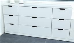 Sale 9150H - Lot 70 - A white chest of nine drawers, Height 76cm x Width 160cm x Depth 47cm