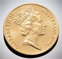 Sale 9153C - Lot 321 - AUSTRALIAN TWO HUNDRED DOLLAR GOLD COIN; 1994 Tasmanian Devil, 22ct gold, wt. 9.99g.