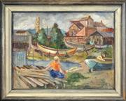 Sale 8459 - Lot 583 - Signy Willums (1879 - 1959) - Untitled, 1934 (Preparing to Sail) 42x 55.5cm