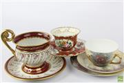 Sale 8599 - Lot 26 - 19th Century Oversized French Cup And Saucer, Together With Another French Example And A Hand Painted Limoges Cup And Saucer
