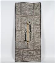Sale 8718 - Lot 561 - Boliny Wanambi (1957 - ) - Djarrka (Water Goanna), 2014 natural pigments on bark
