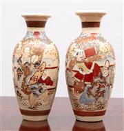 Sale 8804A - Lot 165 - A pair of Japanese Satsuma vases with figural panels, Height 25cm