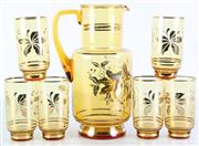 Sale 8985G - Lot 616 - An Bohemia Amber Glass 7 Piece Drinks Suite