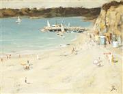 Sale 9067 - Lot 595 - Gilbert Spencer (1940 - ) - Beach Scene 19 x 25 cm (frame: 37 x 44 x 4 cm)
