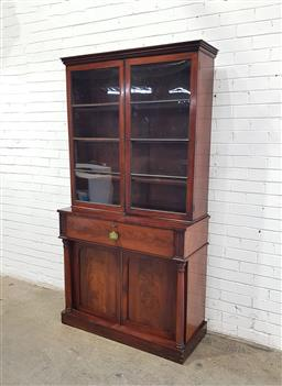 Sale 9142 - Lot 1012 - Early Victorian Flame Mahogany Secretaire Bookcase, the upper astragal doors with ebonised bars (missing one), the secretaire enlosi...
